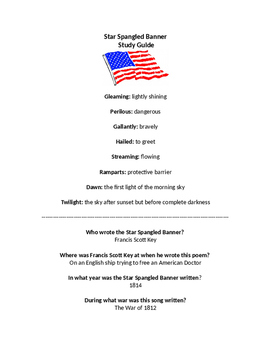 Star Spangled Banner Study Guide & Test (National Anthem)