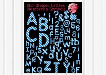 Star Striped Letters Numbers and Symbols