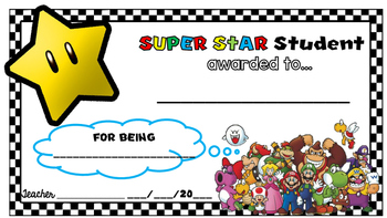 Star Student Certificate Mario Theme