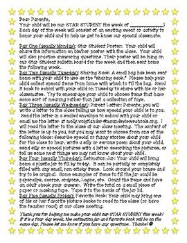 Star Student parent letter