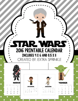 Star Wars Inspired 2016 Printable Calendar