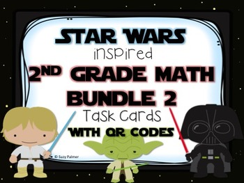 Star Wars 2nd Grade Math Task Cards with QR Codes BUNDLE #2