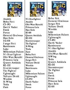 Star Wars ABC activities