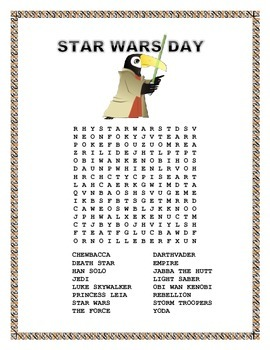 "Star Wars -  Word Search-"" May The Fourth Be with You"""