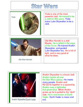 Star Wars-FLUENCY 3rd Grade Level- CHARACTER DESCRIPTIONS