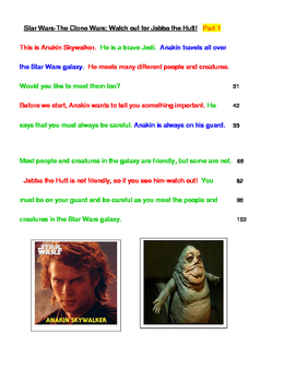 Star Wars -FLUENCY-Watch out for Jabba the Hutt! 4th Grade