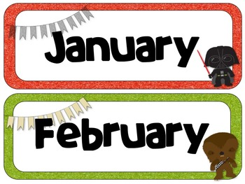 Star Wars Theme Calendar Headers   Months and Days of the Week