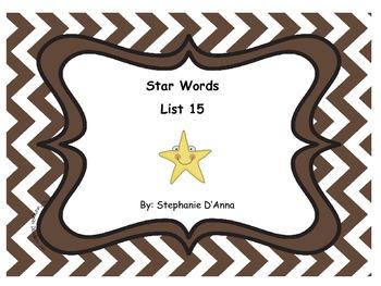 Star Words List 15 Sight Words