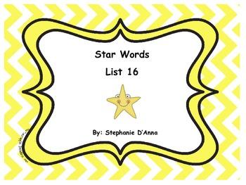 Star Words List 16 Sight Words