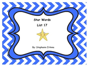Star Words List 17 Sight Words
