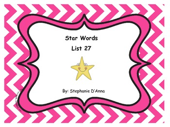 Star Words List 27 Sight Words
