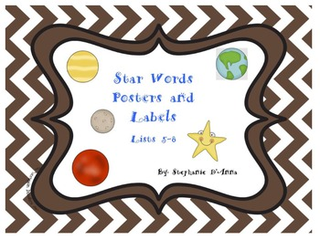 Star Words Posters and Labels 5-8