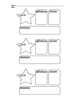 Star Words - Vocabulary Graphic Organizer