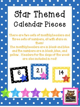 Star and Polka Dot Themed Calendar Set (Including Days of