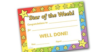 Star of the Week A4 Poster