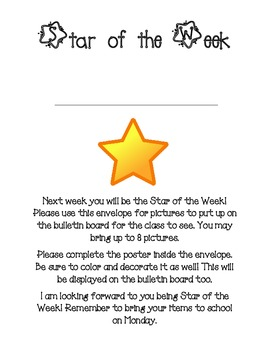 Star of the Week Folder Page