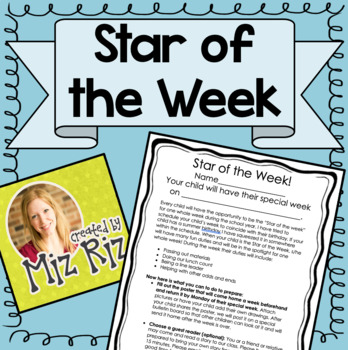Star of the Week Parent Note