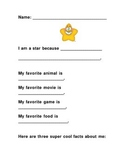 Star of the Week Poster - Have Star Student Fill Out and Share!