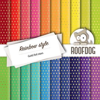 Digital paper—bright rainbow gold foil look stars