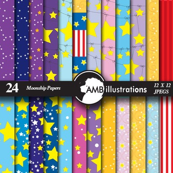 Digital Papers - Moon and Star themed papers and backgroun