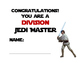 Star wars theme math fact Jedi Master certificate  CCS mat