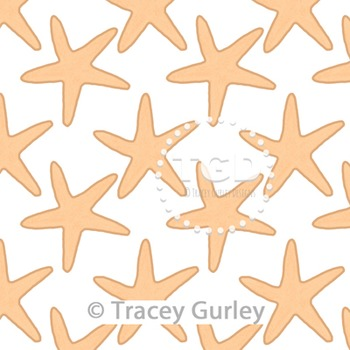 Starfish Pattern Repeat on White digital paper Printable T