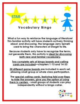 Stargirl Vocabulary Bingo