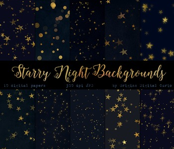 Starry Night Backgrounds - Gold Star Digital Paper