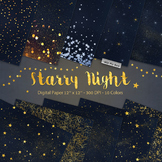 Starry Night Digital Paper Star Night Sky Galaxy