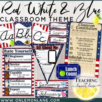 Stars & Stripes Cursive Classroom Theme (Editable) Patriot
