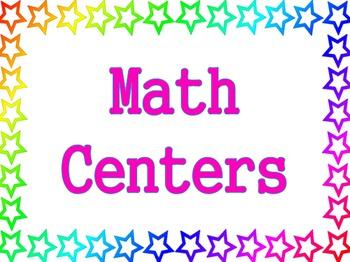Stars Theme - Math Centers Poster