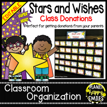 Stars & Wishes Class Donations ~ Super Hero Theme (Editable)