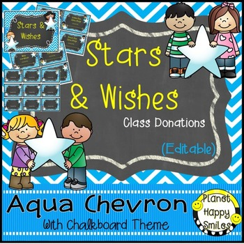 Stars & Wishes Class Donations (editable) Aqua and Chalkbo