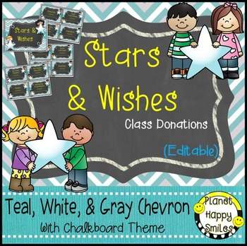 Stars & Wishes Class Donations (editable) Teal and Chalkbo