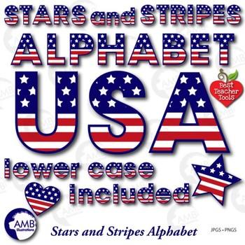Stars and stripes Alphabet Clipart, Alphabet clipart, July
