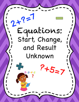 Start, Change, and Result Unknown Equations