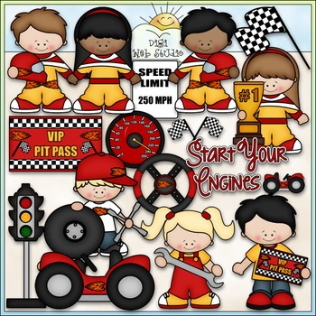 Start Your Engines Clip Art - Racing Clip Art - Race Cars