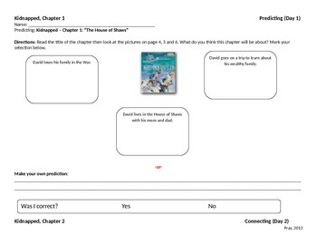 Start-to-Finish Student Worksheet for Guided Reading Kidnapped