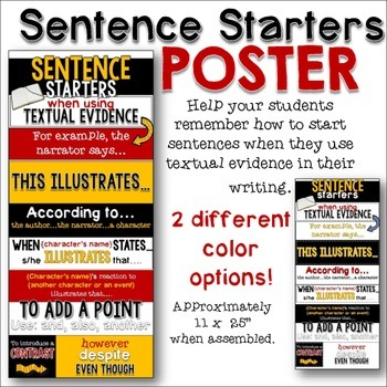 Starters for Using Textual Evidence Poster