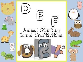 Starting Sound Animal Craftivity DEF