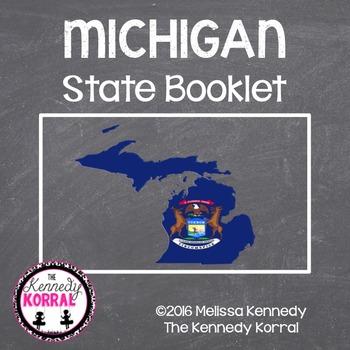 Michigan State Book {Map, Bird, Flag, Flower, Landmark, An