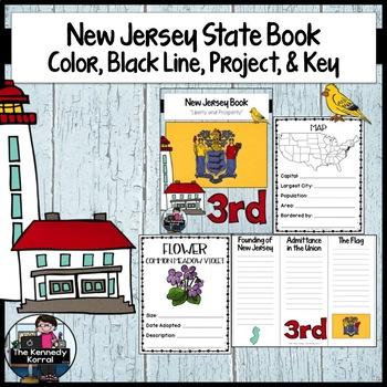 New Jersey State Book {Map, Bird, Flag, Flower, Landmark,
