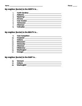 State Borders Worksheet