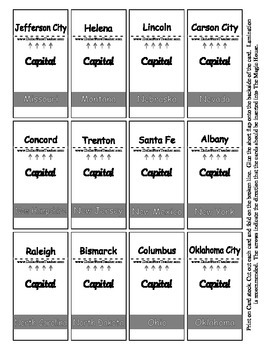 State Capital Magic House Cards - Supports Geography based center