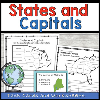 State Capital Task Cards and Map Activities