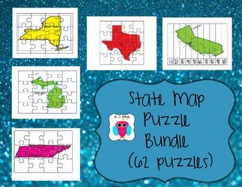 State Map Puzzle Bundle- 62 puzzles