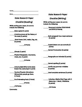 State Research Paper Checklist