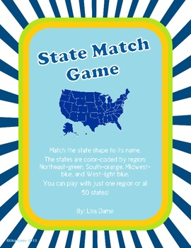 State Shapes Match Game