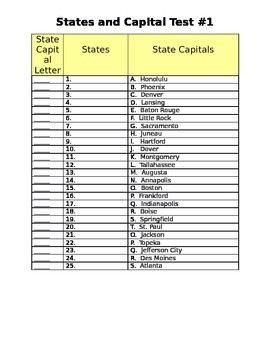 #1 States (1-25) Spelling and Capital Matching Test