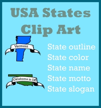 States Clip Art - Outlines, State Color, State Motto and S